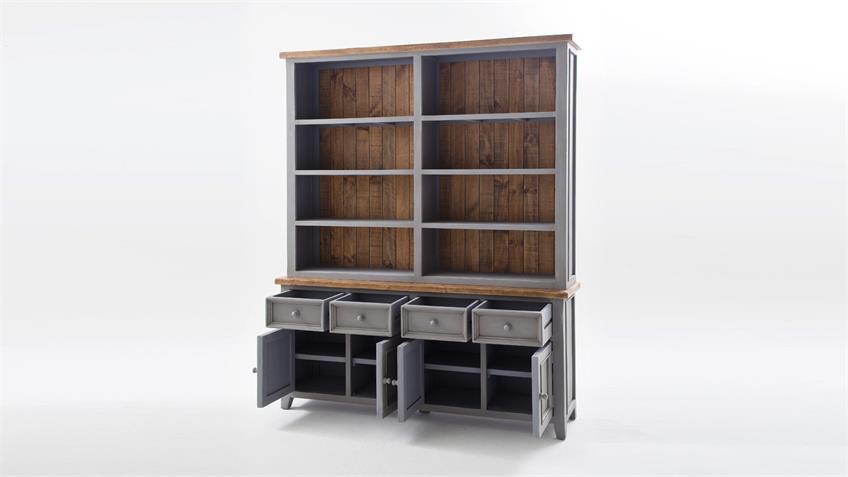regal byron kiefer massiv in antik grau vintage braun. Black Bedroom Furniture Sets. Home Design Ideas