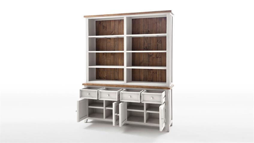 regal byron kiefer massiv in wei und vintage braun. Black Bedroom Furniture Sets. Home Design Ideas