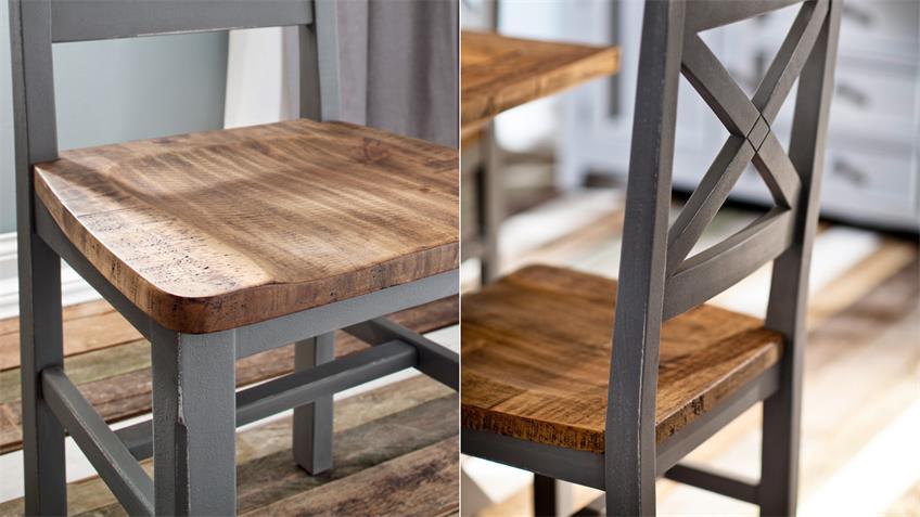Tischgruppe BYRON Kiefer massiv Antik grau Vintage braun