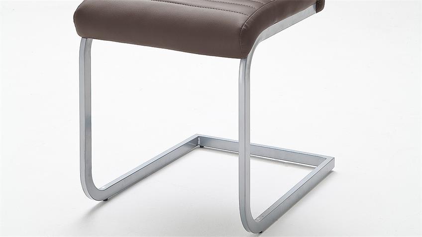 Schwingstuhl 4er Set EDNA Stuhl in braun und Chrom matt Lack