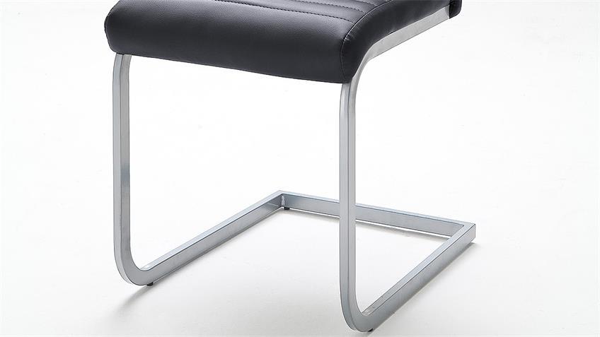 Schwingstuhl 4er Set EDNA Stuhl schwarz Chrom matt Lack