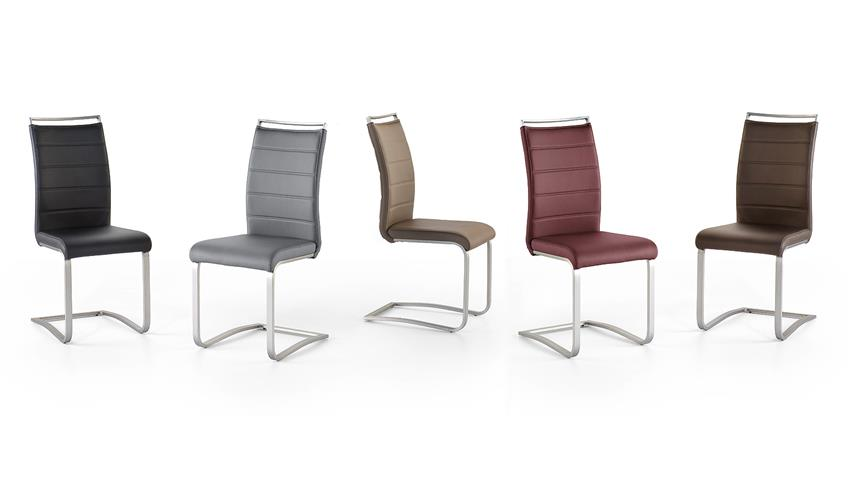Schwingstuhl 2er Set PESCARA Stuhl in grau und Edelstahl
