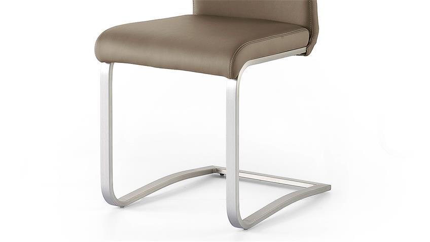 Schwingstuhl 2er Set PESCARA Stuhl cappuccino und Edelstahl