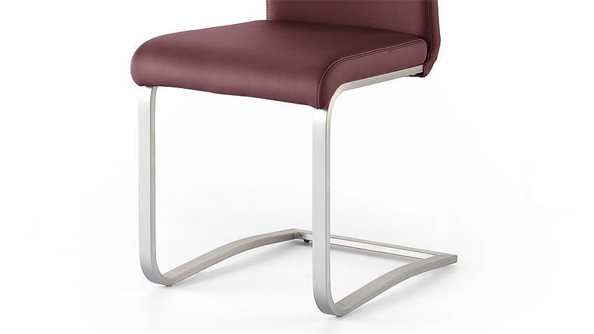 Schwingstuhl 2er Set PESCARA Stuhl bordeaux und Edelstahl