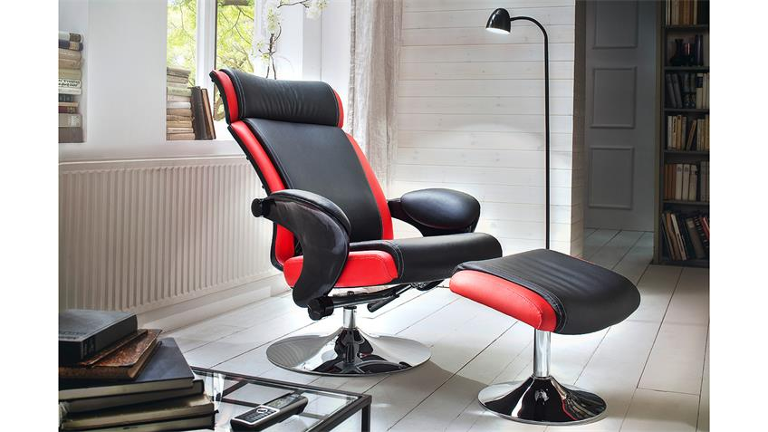 Relaxsessel BENTE Sessel mit Hocker in schwarz rot Chrom
