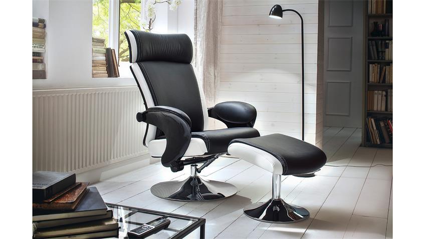 Relaxsessel BENTE Sessel mit Hocker schwarz weiß Chrom