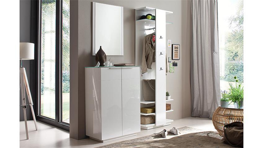 Garderobenpaneel CANBERRA in weiß Hochglanz Lack Glas