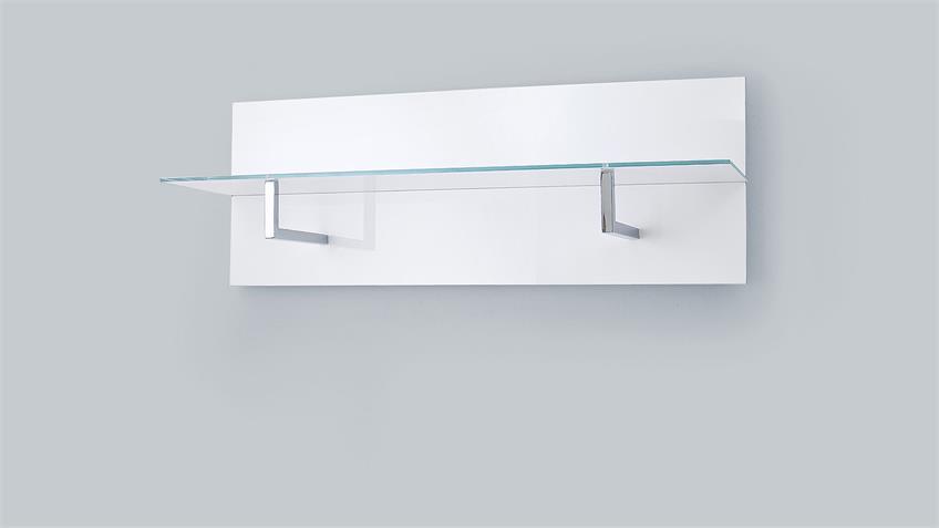 Garderobenpaneel CANBERRA weiß Hochglanz Lack Glas