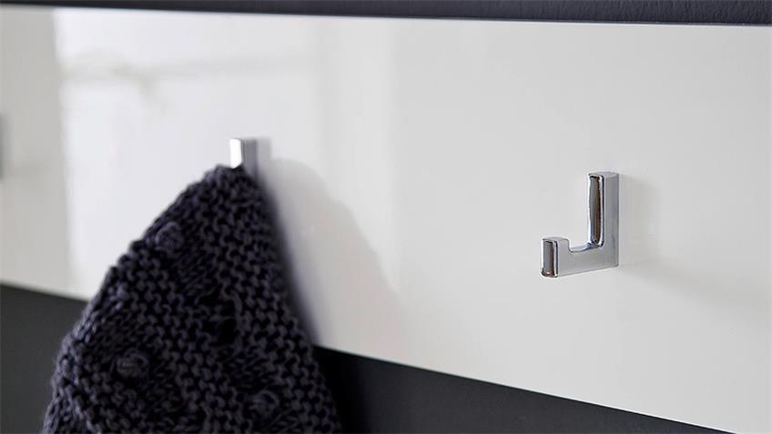 Hakenleiste CANBERRA Garderobenpaneel weiß Hochglanz Lack