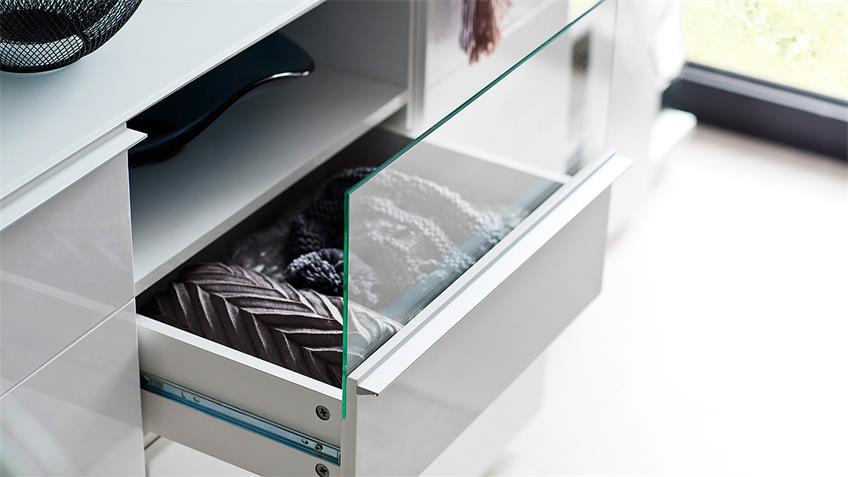Garderobenset 2 CANBERRA Garderobe weiß Hochglanz Lack Glas