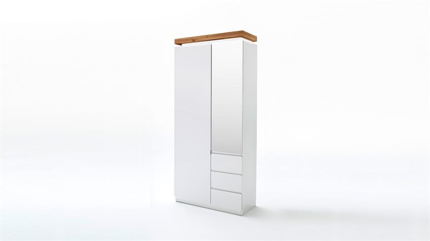 Garderobenschrank ROMINA weiß matt Lack Eiche massiv mit LED