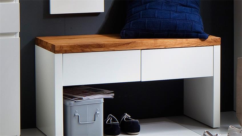 bank romina garderobe in wei matt lack und eiche massiv. Black Bedroom Furniture Sets. Home Design Ideas