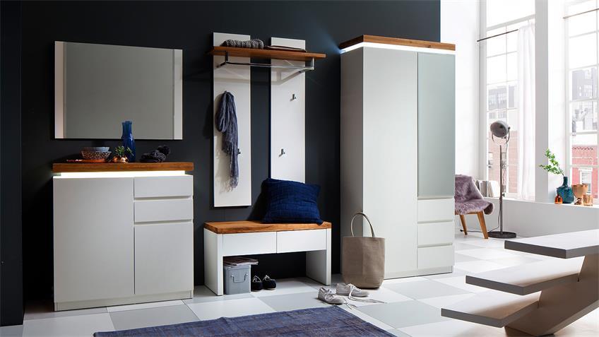 Bank ROMINA Garderobe in weiß matt Lack und Eiche massiv