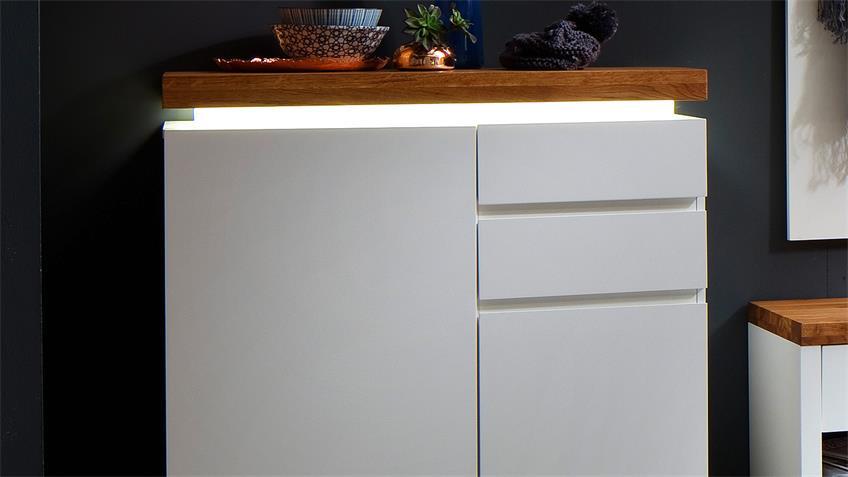 Schuhschrank ROMINA in weiß matt Lack Eiche massiv mit LED