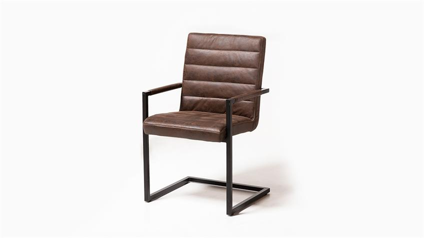 Schwingstuhl 2er Set NEELE Stuhl mit Armlehne Vintage braun