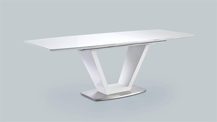 Tischgruppe ILKO ELARA weiß Hochglanz Lack grau Stoff