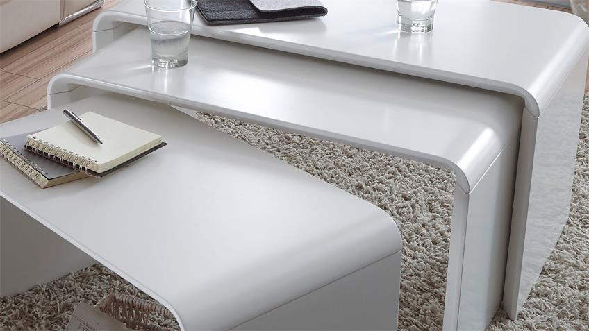 3-Satz Tisch PHIL Couchtisch Beistelltisch in weiß matt Lack