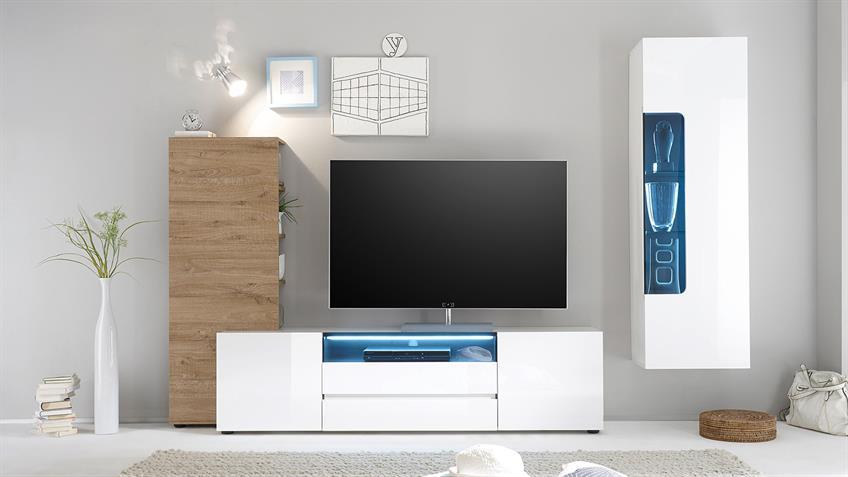TV-Board VICENZA Lowboard weiß Hochglanz lackiert 185