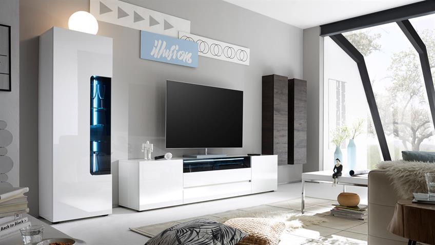 TV-Board VICENZA Lowboard weiß Hochglanz lackiert 203