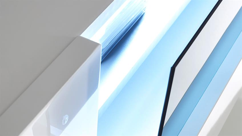 Wohnwand 1 VICENZA Anbauwand weiß Hochglanz lackiert wenge