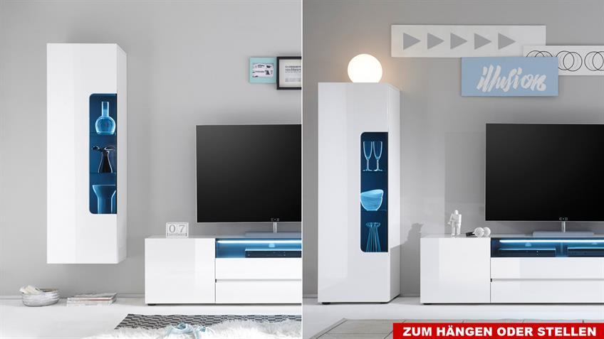 Wohnwand 3 VICENZA Anbauwand weiß Hochglanz lackiert wenge