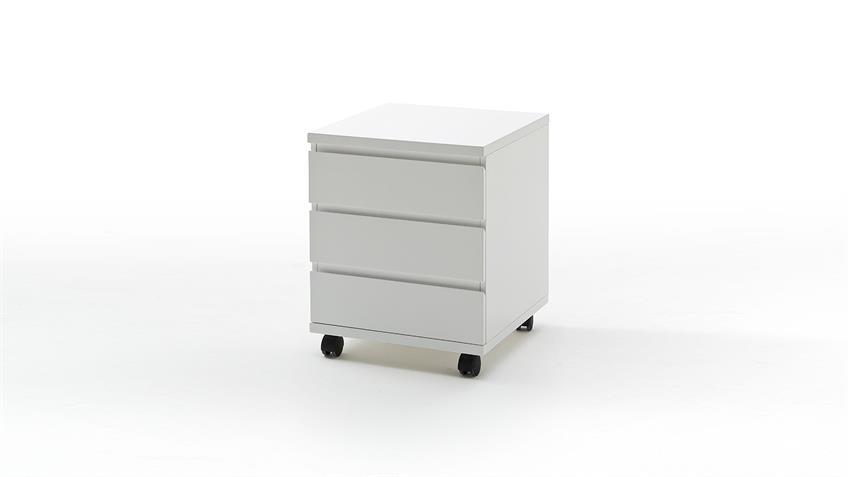Rollcontainer SYDNEY Hochglanz weiß 3 Schubladen