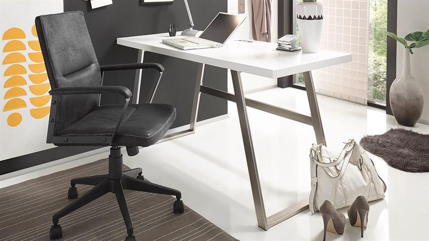 Schreibtisch ANDRIA Computertisch in weiß matt Lack