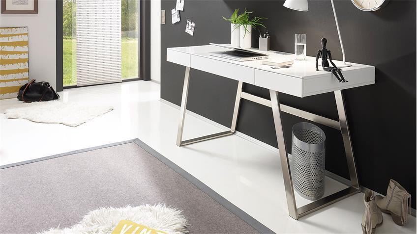 schreibtisch aspen computertisch b rotisch in wei matt. Black Bedroom Furniture Sets. Home Design Ideas
