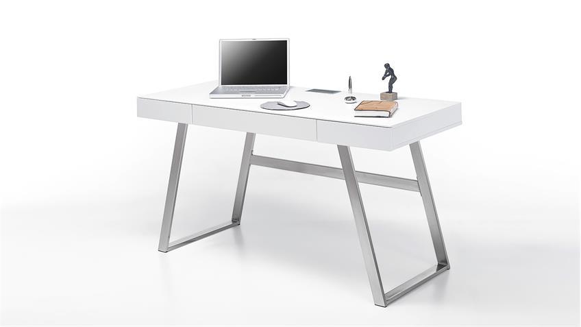 Schreibtisch ASPEN Computertisch in weiß matt Lack