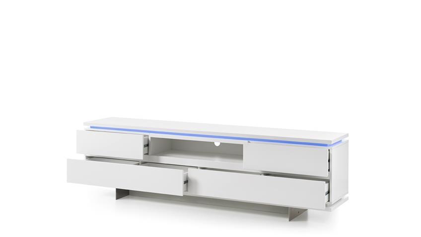 TV-Board BALIN Lowboard weiß matt lackiert mit LED