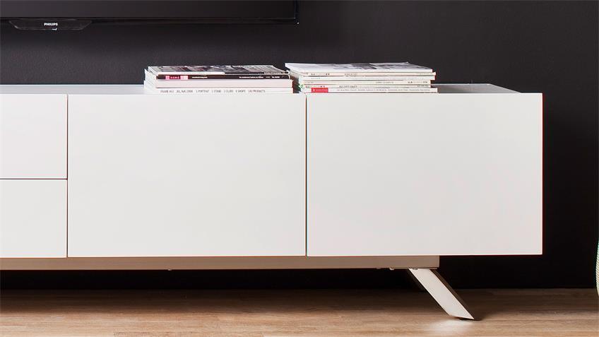 TV-Board BONA Lowboard Unterschrank in weiß matt lackiert