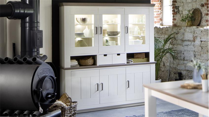 buffet la palma vitrine in kiefer teilmassiv wei lackiert. Black Bedroom Furniture Sets. Home Design Ideas