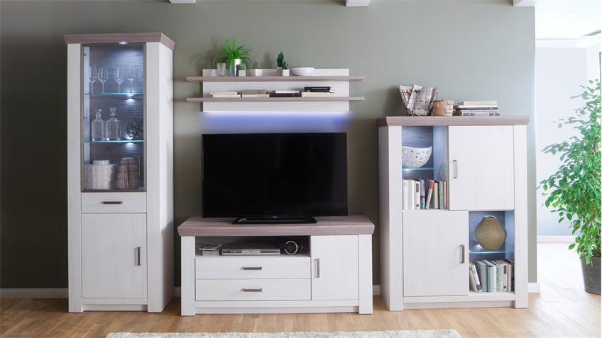 wohnwand bozen pinie aurelio eiche nelson mit led modernes landhaus. Black Bedroom Furniture Sets. Home Design Ideas