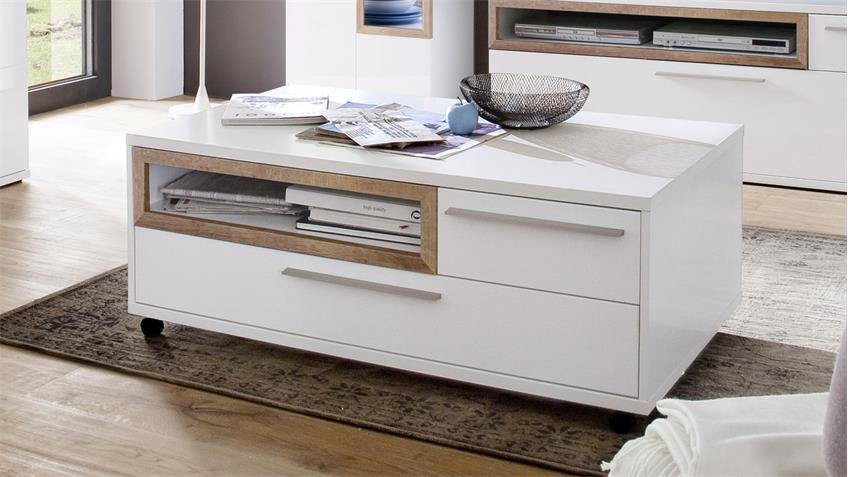 couchtisch pamplona beistelltisch wei melamin riviera eiche. Black Bedroom Furniture Sets. Home Design Ideas