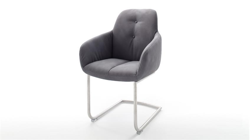 Stuhl tessera in grau und edelstahl armlehnstuhl for Armlehnstuhl grau stoff