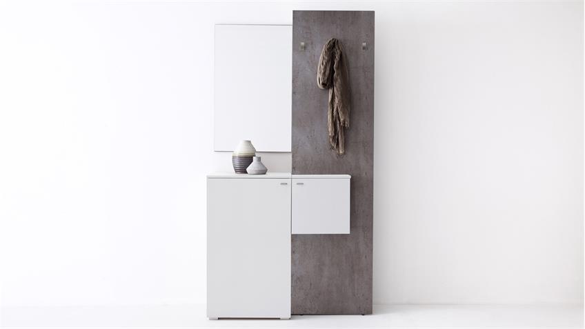 Garderobe zara 1 in wei melamin und betonoptik for Garderobe betonoptik