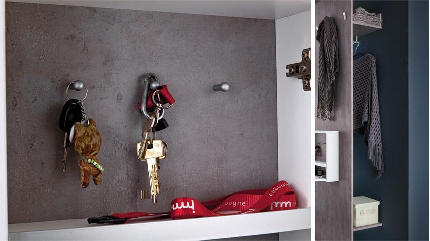 Garderobe zara 1 in wei melamin und betonoptik for Garderobe platzsparend