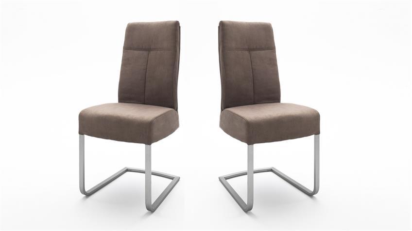 2er set schwingstuhl talena lederlook sand komfortsitz. Black Bedroom Furniture Sets. Home Design Ideas