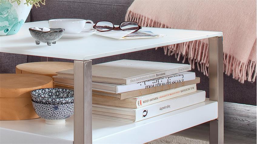 couchtisch baveno in mdf und glas wei lack mit metallgestell 65x65 cm. Black Bedroom Furniture Sets. Home Design Ideas