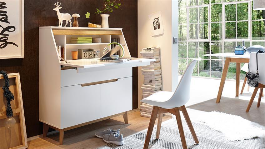 sekret r cervo schreibtisch kommode in wei matt lack und asteiche. Black Bedroom Furniture Sets. Home Design Ideas