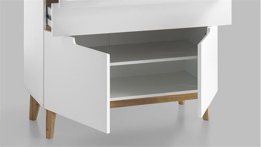 Sekretär Cervo matt weiß lackierte Kommode mit Schreibtisch und Asteiche