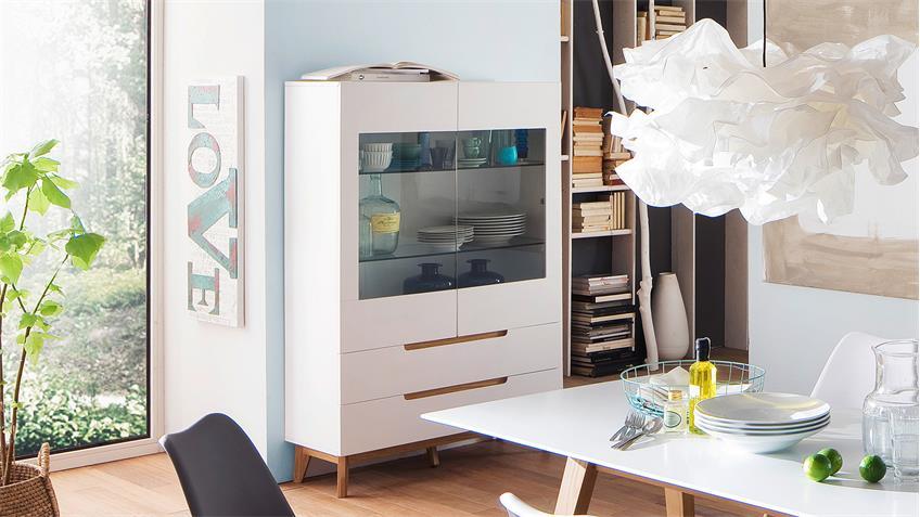 vitrine cervo highboard schrank wohnzimmer wei matt lack und asteiche. Black Bedroom Furniture Sets. Home Design Ideas