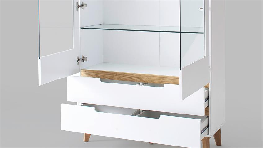 vitrine cervo highboard schrank wohnzimmer wei matt lack und asteiche. Black Bedroom Furniture Sets. Home Design Ideas