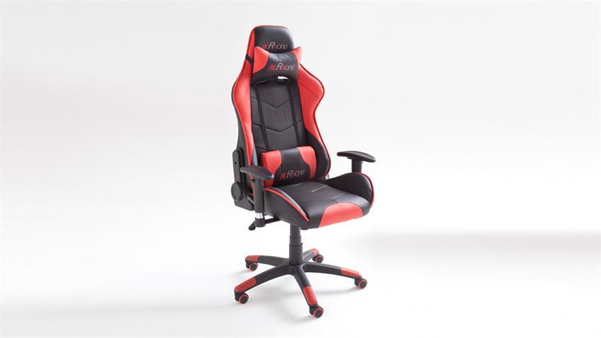 Chefsessel McRACING Drehstuhl Bürostuhl schwarz und rot mit Funktionen