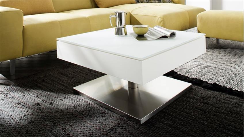 couchtisch mariko beistelltisch wohnzimmertisch in wei matt glas 75. Black Bedroom Furniture Sets. Home Design Ideas