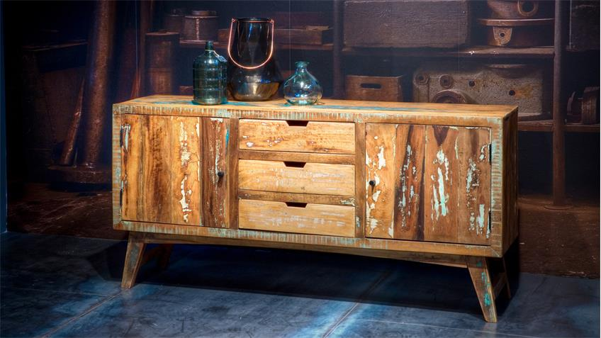 sideboard malm aus recycle massivholz used color look lackiert. Black Bedroom Furniture Sets. Home Design Ideas