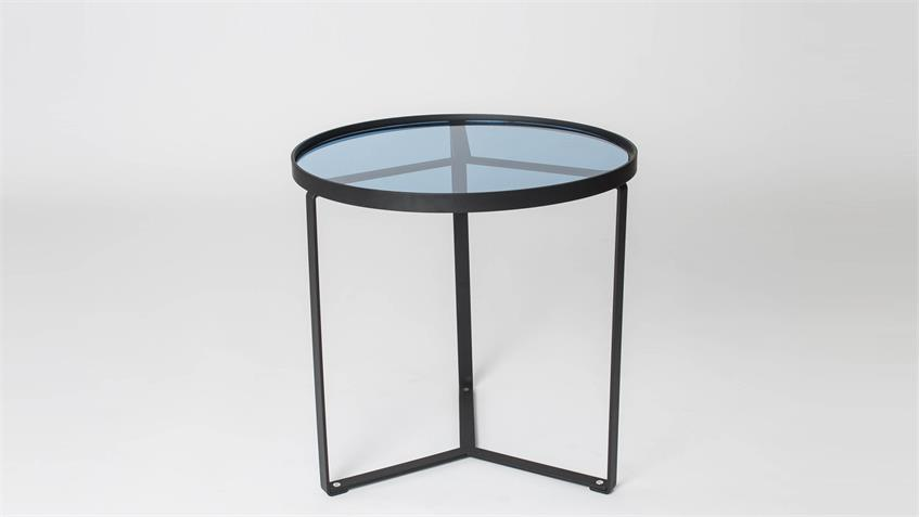 couchtisch kara tischplatte in blauglas metallgestell schwarz. Black Bedroom Furniture Sets. Home Design Ideas