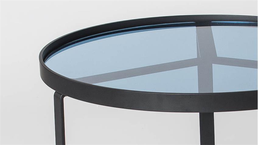 Couchtisch kara tischplatte in blauglas metallgestell schwarz for Couchtisch filigran