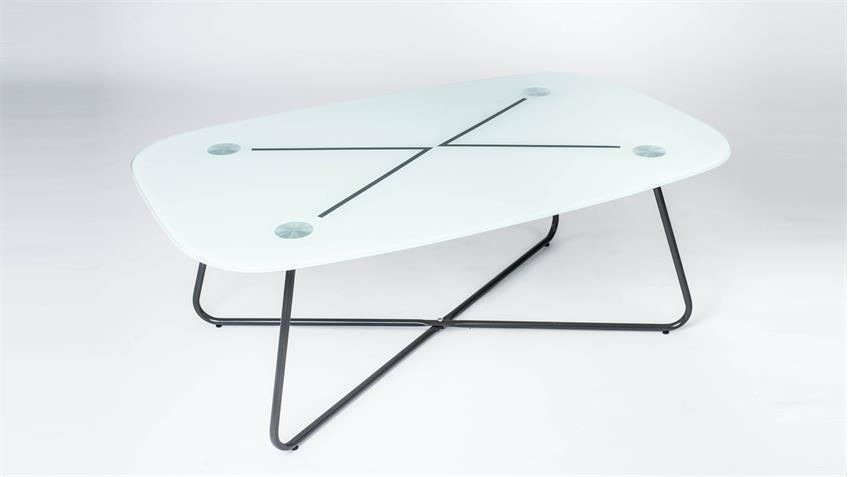 Couchtisch Design Glasplatte 8mm Gestell  schwarz Wohnzimmertisch Tilda