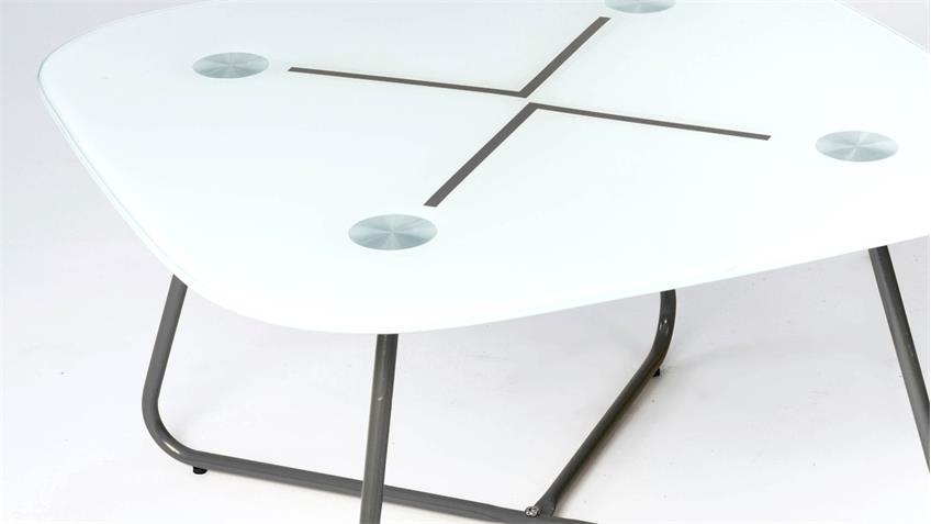 Couchtisch THEA mit 8mm Glasplatte unterlackiert Gestell grau